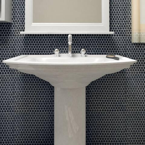 "SomerTile Hudson Penny Round Matte Black 12"" x 12.63"" Porcelain Mosaic Tile"