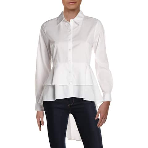 NY Collection Womens Button-Down Top Collared Hi-Low - S