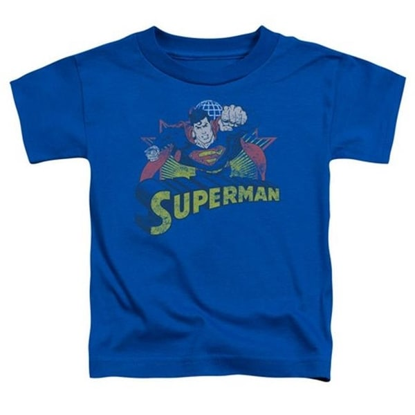 Jla-Superman Rough Distress Short Sleeve Toddler Tee, Royal -