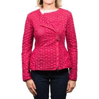 Moncler Majorelle Tonal Embroidered Asymetric Zip Jacket Women's