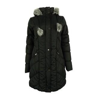 American Rag Women's Faux Fur Trim Hooded Puffer Coat