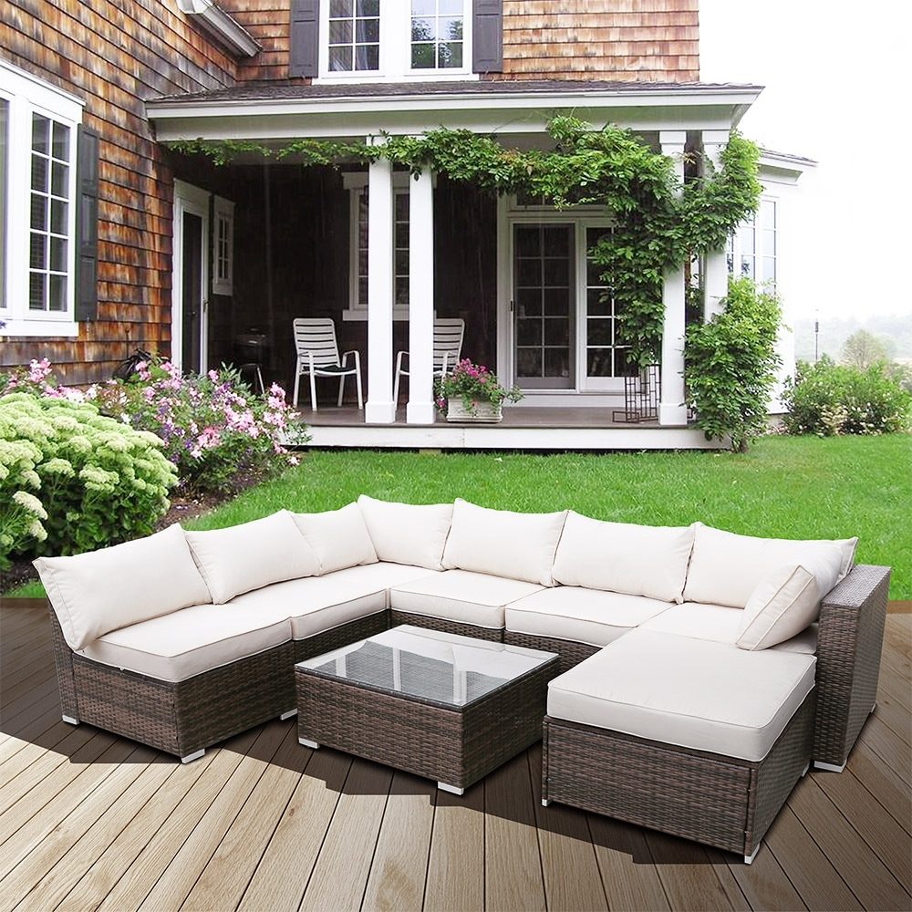 Rattan Sofa Set Couch Steel Frame Living Room Balcony Outdoor Garden  Cushion - Puce