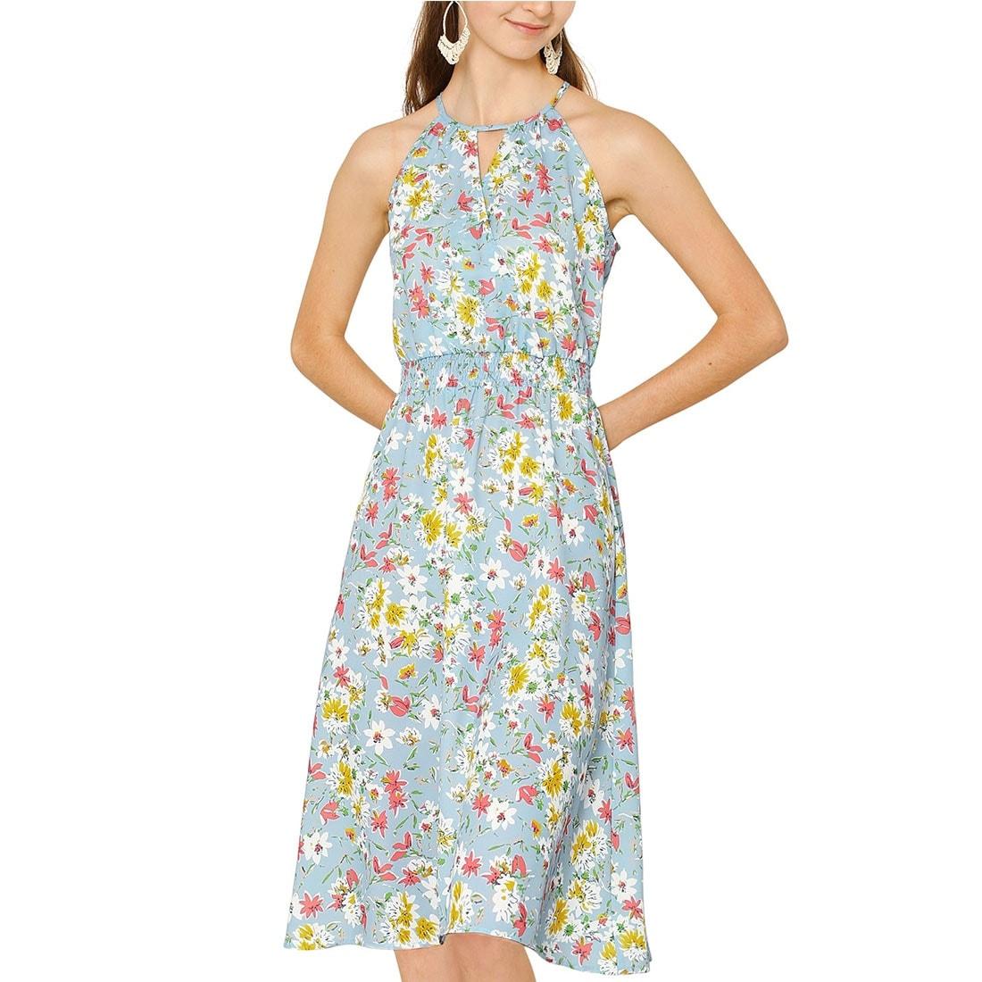 Allegra K Women/'s Ruffled Smocked Waist Leopard Chiffon A-Line Dress