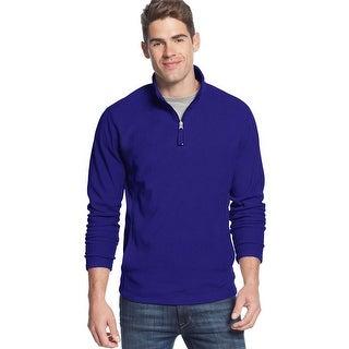 Club Room Quarter Zip Fleece Mockneck Sweatshirt Cargo Blue