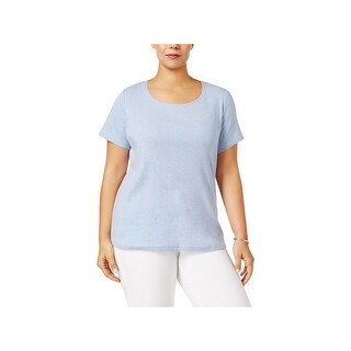 Karen Scott Womens Plus Casual Top Heathered Scoop Neck (4 options available)