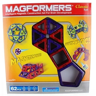 Magformers Classic 62-Piece Magnetic Construction Set (Red & Purple)