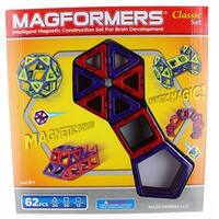 Magformers Classic 62-Piece Magnetic Construction Set (Red & Purple) - Multi