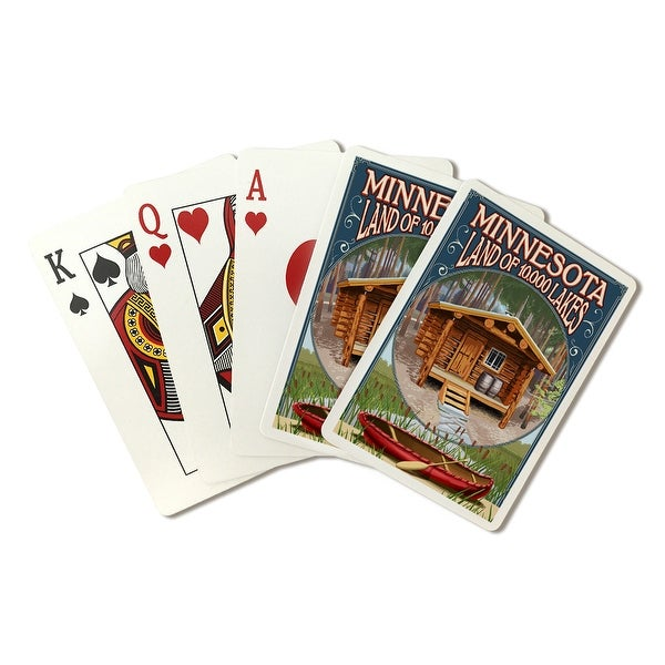 MN - Cabin and Lake - LP Artwork (Poker Playing Cards Deck)