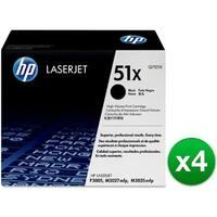 HP 51X High Yield Black Original LaserJet Toner Cartridges (Q7551X)(4-Pack)
