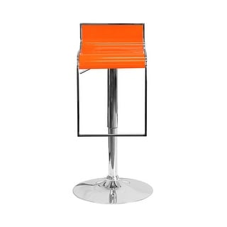 Offex Contemporary Orange Plastic Adjustable Height Barstool with Chrome Drop Frame