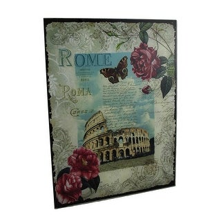 Decorative Rome Colosseum Floral Glass Wall Hanging - White