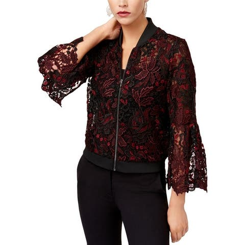 Kobi Womens Toryn Bomber Jacket Lace Bell Sleeves