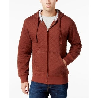 Weatherproof NEW Red Mens Size 3XL Hooded Quilted Full-Zip Sweater