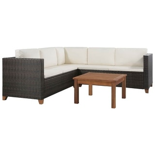 "vidaXL 4 Piece Garden Lounge Set with Cushions Poly Rattan Brown - 48.8"" x 25.6"" x 24.4"""
