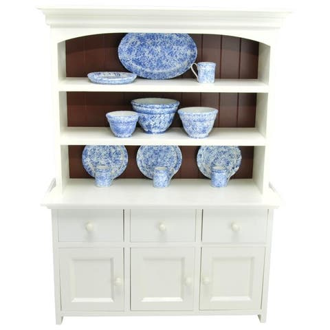 American Farmhouse Collection Step Back Kitchen Cupboard Hutch, Fits 18 Inch American Girl Doll Furniture