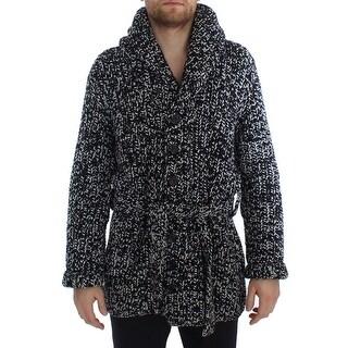 Dolce & Gabbana Black White Cashmere Knitted Cardigan Sweater