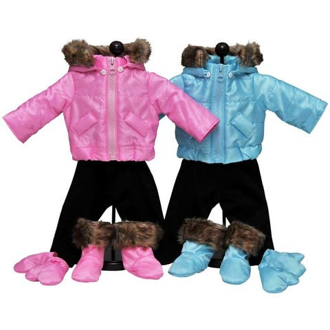 Set of Two Complete 15 Inch Baby Doll Twin Pink And Blue Winter Clothes. Two 6 piece Outdoor Ski Outfits Fits Bitty Baby Twins