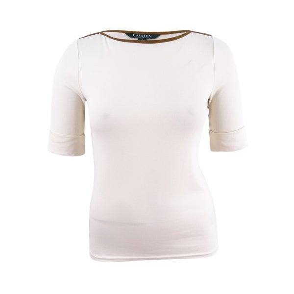 a14edb1e Shop Lauren by Ralph Lauren Women's Stretch Jersey Boat-Neck Top - Natural  - On Sale - Free Shipping On Orders Over $45 - Overstock - 23443870