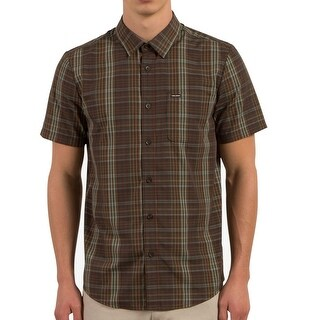 Volcom Brown Mens Size Small S Short-Sleeve Button Down Plaid Shirt