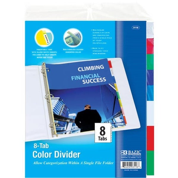 BAZIC 3-Ring Binder Dividers w/ 8-Insertable Color Tabs Case of 24