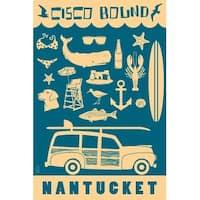 Nantucket, MA - Coastal Icons - LP Artwork (Art Print - Multiple Sizes)