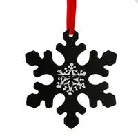 "5.25"" Black Chalkboard Finished Traditional Style Snowflake Christmas Ornament"