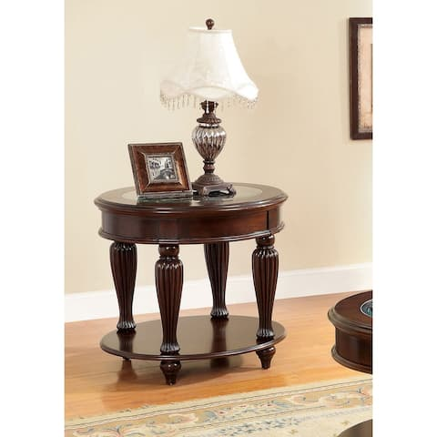 Furniture of America Zerathe Traditional Cherry Glass Top End Table