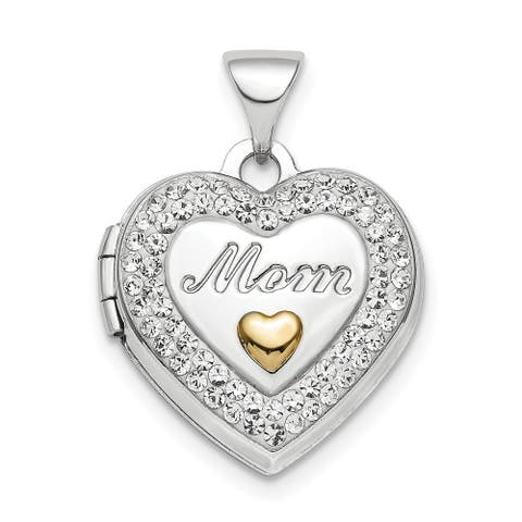 Sterling Silver Rhodium-plated Gold-tone Preciosa Crystal Mom Locket with 18-inch Cable Chain By Versil