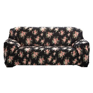 Home Polyester Black Rose Prints Elastic 3 Seats Sofa Cover Slipcover 74''-90''