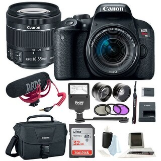 Canon T7i Video Creator Kit w/ 18-55mm Lens, Rode Microphone, 32GB Card + Canon SLR Bag, Flash & Supreme Kit|https://ak1.ostkcdn.com/images/products/is/images/direct/218d2b5e20addbcd021d5bd503cedc69bff0cf51/Canon-T7i-Video-Creator-Kit-w--18-55mm-Lens%2C-Rode-Microphone%2C-32GB-Card-%2B-Canon-SLR-Bag%2C-Flash-%26-Supreme-Kit.jpg?_ostk_perf_=percv&impolicy=medium