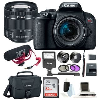 Canon T7i Video Creator Kit w/ 18-55mm Lens, Rode Microphone, 32GB Card + Canon SLR Bag, Flash & Supreme Kit|https://ak1.ostkcdn.com/images/products/is/images/direct/218d2b5e20addbcd021d5bd503cedc69bff0cf51/Canon-T7i-Video-Creator-Kit-w--18-55mm-Lens%2C-Rode-Microphone%2C-32GB-Card-%2B-Canon-SLR-Bag%2C-Flash-%26-Supreme-Kit.jpg?impolicy=medium