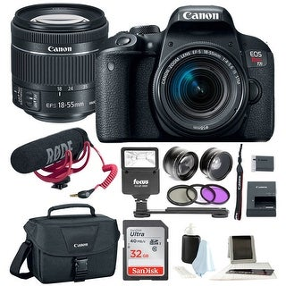 Canon T7i Video Creator Kit w/ 18-55mm Lens, Rode Microphone, 32GB Card + Canon SLR Bag, Flash & Supreme Kit
