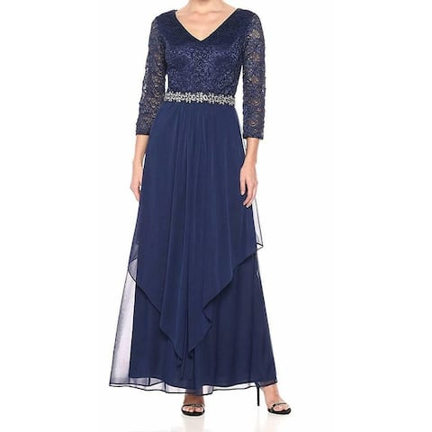 dc6c4b59f78 Alex Evenings Blue Women s Size 8 Embellished Lace Gown Dress