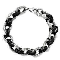 Stainless Steel Textured & Black Rubber 9in Bracelet
