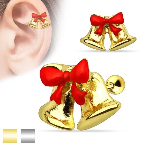 "Christmas Ribbon Jingle Bell Surgical Steel Tragus/Cartilage Barbell - 16GA - 1/4"" Long"