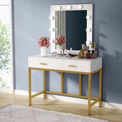 Makeup Vanity Table with Lighted Mirror, 9 Lights & 2 Drawers