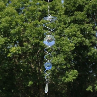 Sunnydaze 12-Inch Crystal Twister Cyclone Wind Spinner - Multiple Colors