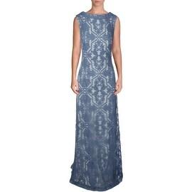 Tadashi Shoji Womens Lace Embroidered Evening Dress