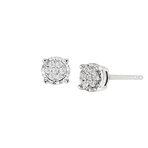 1/10 ct Diamond Halo Stud Earrings in Sterling Silver (.100 cttw, I-J Color, I2-I3 Clarity)
