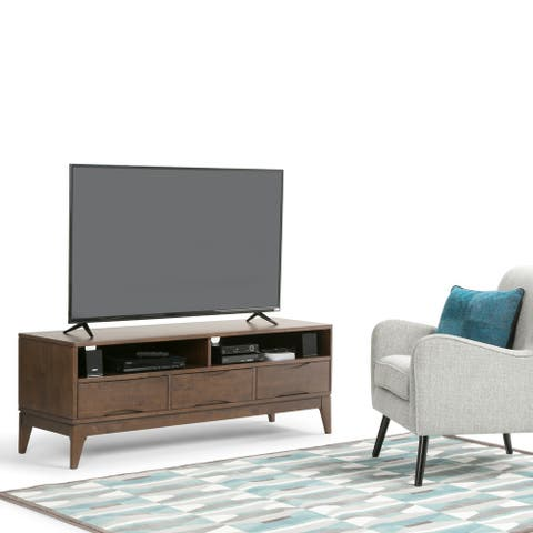 """WYNDENHALL Pearson SOLID HARDWOOD 60 inch Wide Mid Century Modern TV Media Stand For TVs up to 65 inches - 60""""w x 19""""d x 22"""" h"""