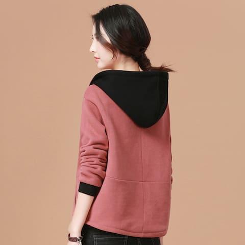 New Women Hooded Sweater Long Sleeve Cardigan