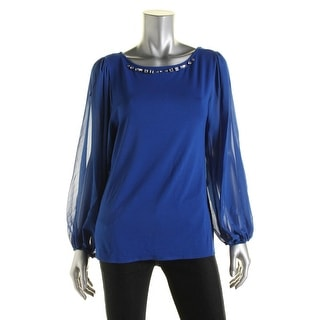 Vince Camuto Womens Blouse Jersey Embellished