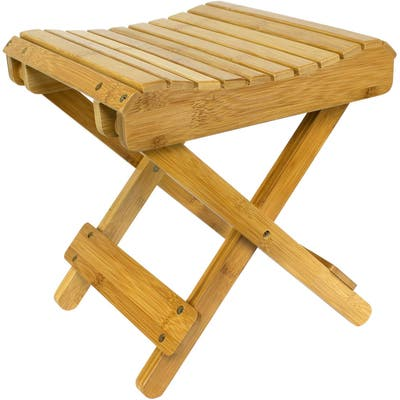 Bamboo Wooden Folding Step Stool Bench for Shower Foot Rest Bath Chair