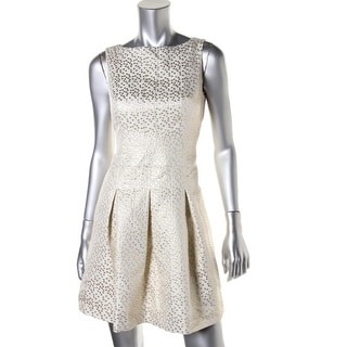 Lauren Ralph Lauren Womens Petites Metallic Pattern Cocktail Dress