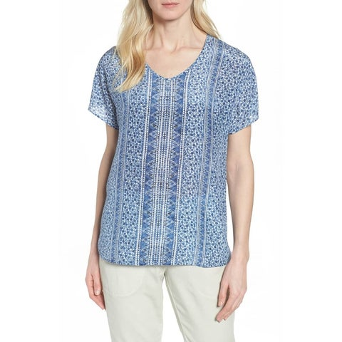 Nic + Zoe Blue Women's Size Medium M Printed V-Neck Blouse Silk