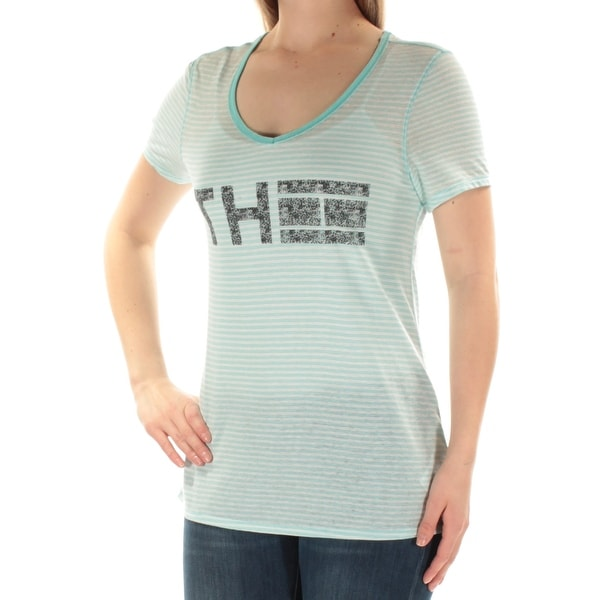 f654e126 Shop TOMMY HILFIGER Womens Light Blue Striped Logo Short Sleeve Scoop Neck T -Shirt Top Size: M - Free Shipping On Orders Over $45 - Overstock - 22431827