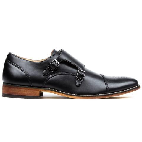 Gino Vitale Men's Monk Strap Cap Brogue Dress Shoes