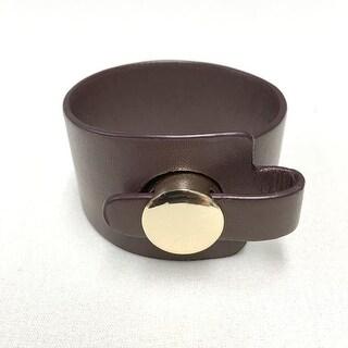 Potissi Genuine Wide Leather Button Bracelet