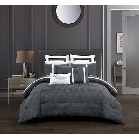 Chic Home Arlea 12 Piece Grey Jacquard Design Comforter Set