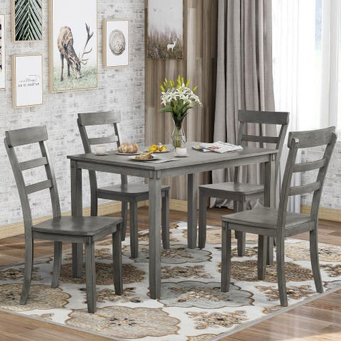Harper & Bright Designs 5-piece Wood Dining Set